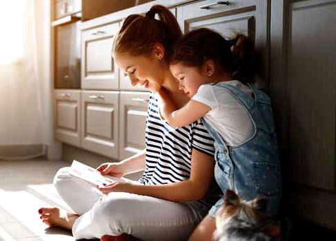 Clean Air Indoor with mother and daughter reading